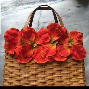 Vintage kate spade floral wicker handbag